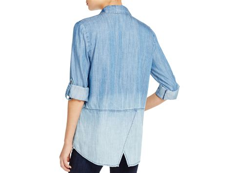 lunch lounge katalina ombre chambray shirt in blue lyst
