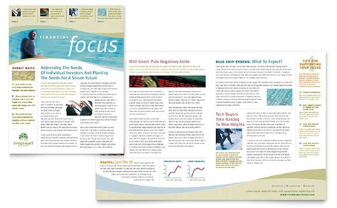newsletter layout investment management newsletter template design