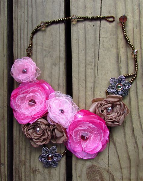 how to make flowers into jewelry silk flower necklace tutorial