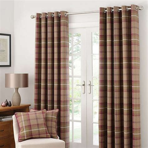 plum bedroom curtains highland check plum lined eyelet curtains dunelm