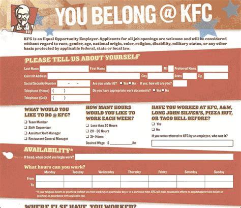 applications cuisine kfc application employment form