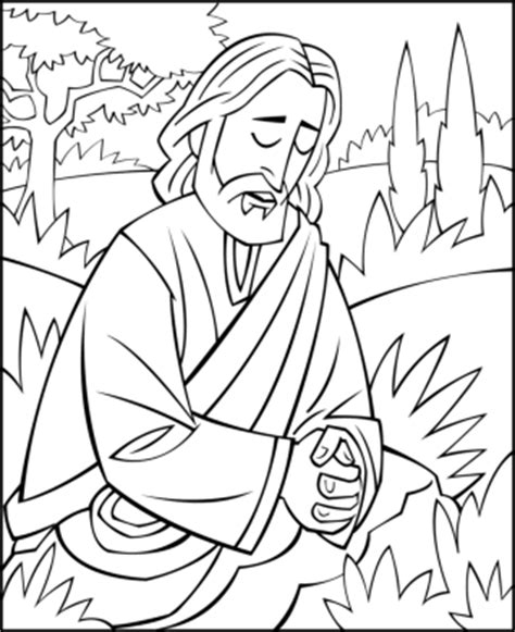 sunday school coloring page jesus praying in the garden