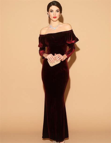 Longdress Velvet burgundy velvet dress burgundy formal dress burgundy evening dress formal evening velvet