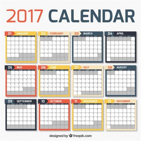 design kalender vektor 2017 kalender in einfachen design download der