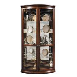 Curio Cabinets For Corners Pulaski Corner Display Warm Cherry Curio Cabinet Ebay