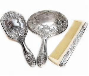 Vanity Hair Brush Set Vintage Silver Vanity Mirror Brush Comb Dresser Set