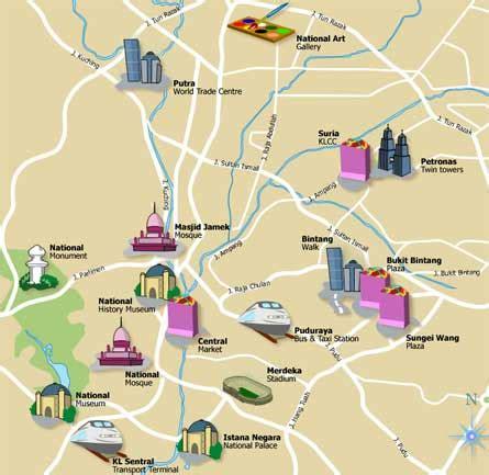 kuala lumpur map tourist attractions kl maps kuala lumpur org
