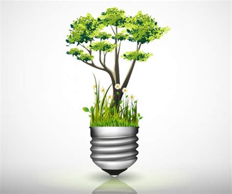 light bulb with green tree grass and flower vecto2000 com