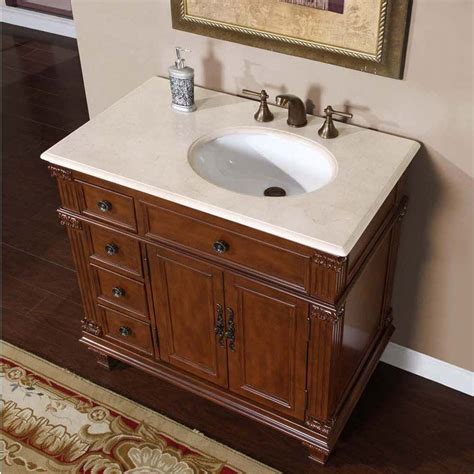 Bathroom Sink Cabinets 36 Quot Silkroad Esther Single Sink Cabinet Bathroom Vanity Cherry Finish Marble Hyp 0210 Cm