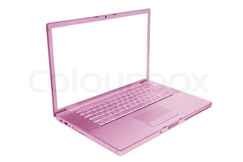 Pink Prada Notebook Computer by Pink And Fashionable Laptop On A White Background Stock