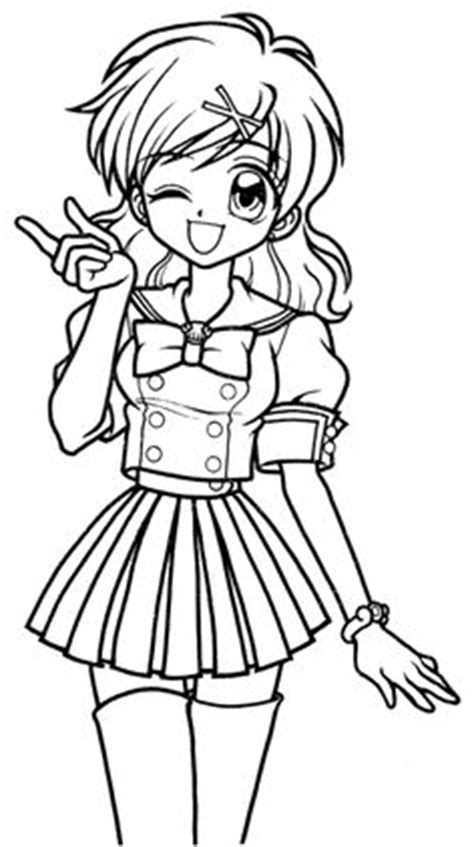 pics for gt anime school girl coloring page