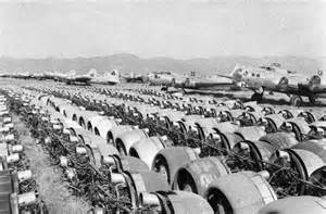 Rows of aircraft engines removed from surplus bombers at the kingman