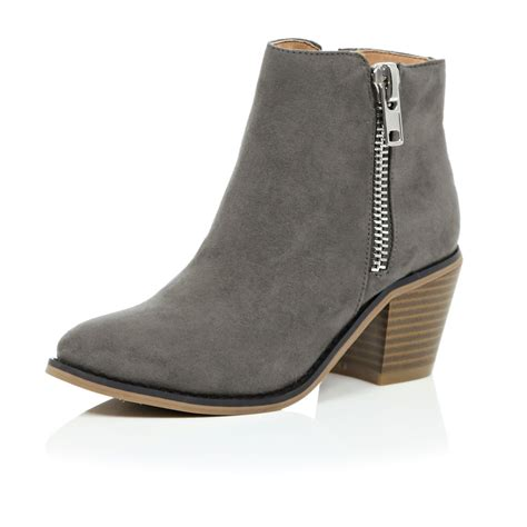 river island shoes river island grey ankle boots in gray lyst