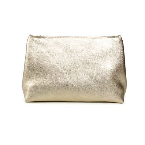 Lalang Cosmetic Makeup Bag Gold handmade gold cosmetic bag leather zipper pouch vank