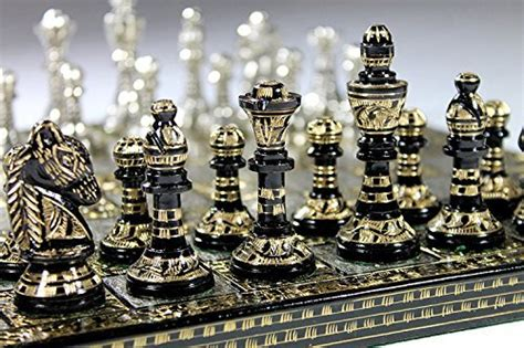 antique chess board set brass collectible game board