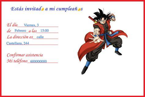 imagenes de goku para cumpleaños bompom invitaci 243 n cumplea 241 os goku