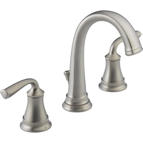 delta faucets bathroom shower shop delta lorain stainless 2 handle widespread bathroom sink faucet at lowes