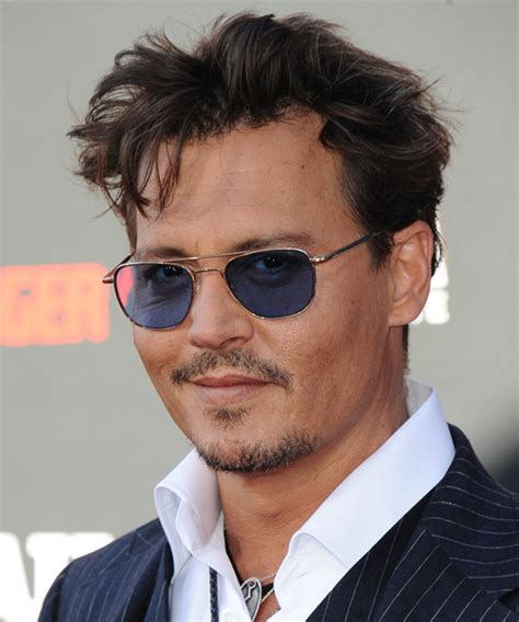 johnny depp short straight casual hairstyle dark