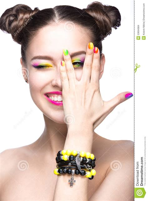Modele De Nail by Beautiful Model With Bright Colored Makeup And Nail