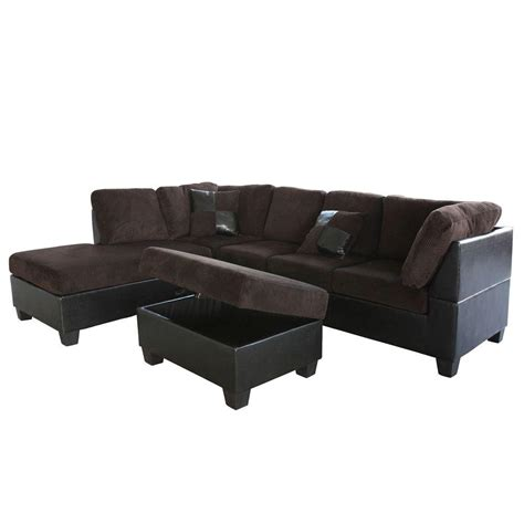 brown corduroy sectional venetian worldwide taylor left sectional sofa and ottoman