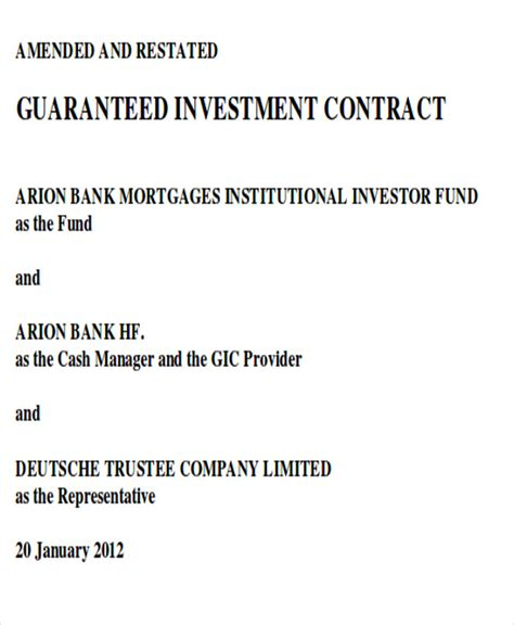 guaranteed investment contract template sle investment contract agreements 7 exles in