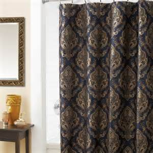 Shower curtain navy blue with gold medallion print shower curtain