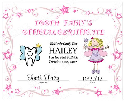free tooth certificate template 7 best images of tooth certificate printable tooth