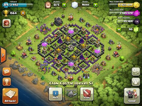 latest layout of coc clash of clans level 9 town hall farming setup www