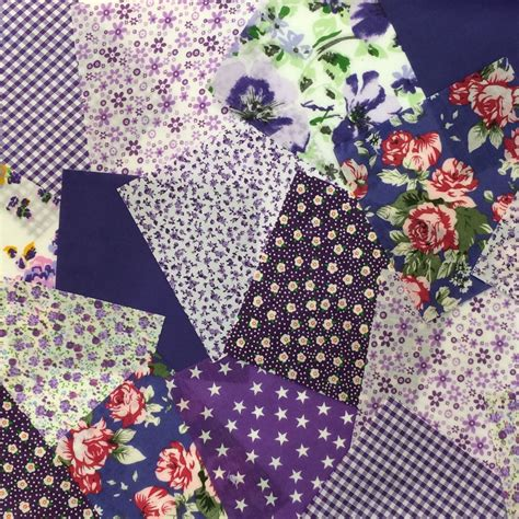 Patchwork Bundles - 25 x 4 quot fabric remnant bundle patchwork squares purple