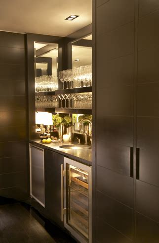 modern bar cabinet with fridge sleek modern wet bar with espresso cabinetry the bar area