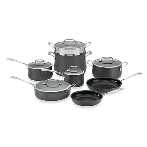 bed bath and beyond pots cuisinart 174 contour hard anodized 13 piece cookware set