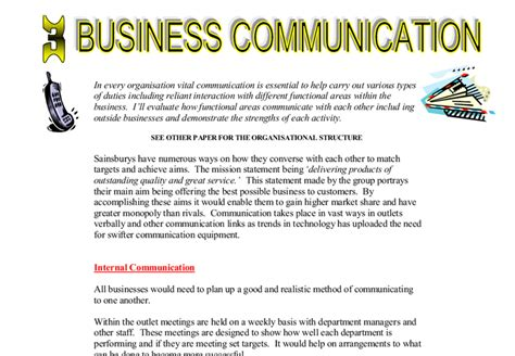Business Communication Essay by Business Communication A Level Business Studies Marked By Teachers