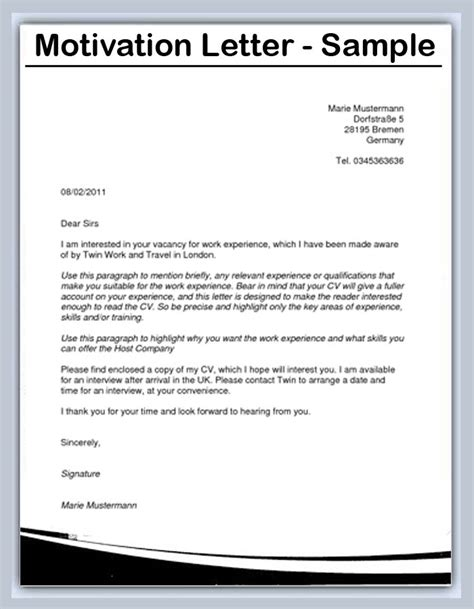 Work Experience Motivation Letter How To Write A Motivation Letter Sles