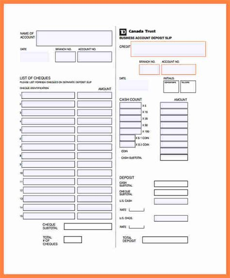 bank deposit receipt template 7 td bank deposit slip template salary slip