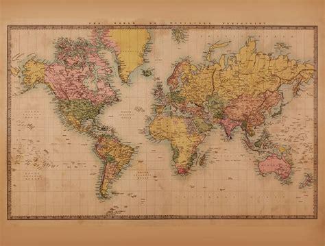 Wall Mural World Map mural weltkarte vintage 2 sepia walldesign56