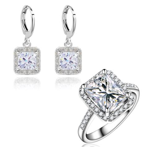 Engagement Earrings by Yunkingdom Wedding Jewelry Sets For Classic Square