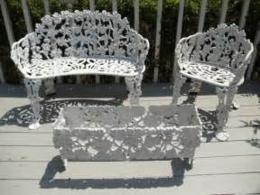 vintage cast iron patio furniture settee chair planter grape design iron patio furniture