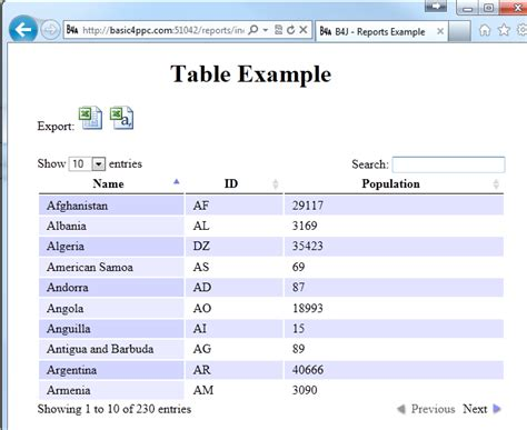 html tutorial with exles b4j tutorial server table report with export feature