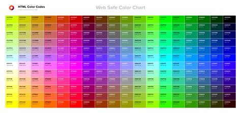 Web Safe Color Chart Html Color Codes Color Code In Web Pages