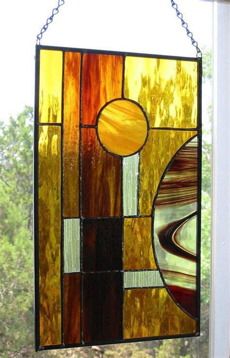 stained glass home decor contemporary stained glass panel modern amber brown home