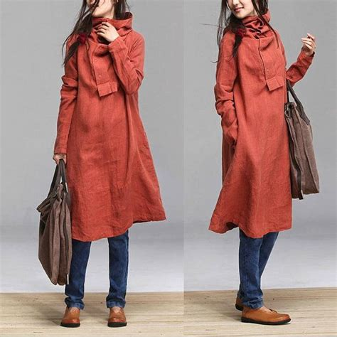 Dress Ima Maxi Fab Doby By brick autumn sleeved linen coat pile by