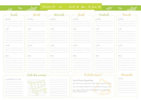 format excel jour de la semaine mod 232 le de menu de la semaine 224 imprimer planning de repas