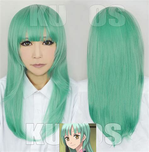 light green assassination classroom kayano kaede wig 60cm in synthetic wigs from