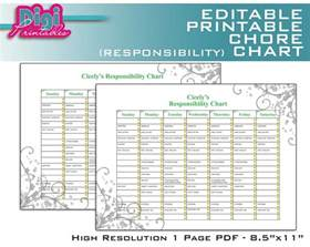 responsibility chart template editable printable chore chart responsibility chart