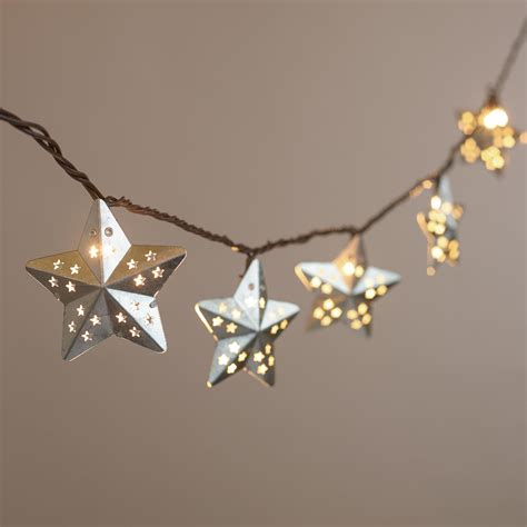 Galvanized Metal Stars 10 Bulb String Lights World Market Metal Lantern String Lights