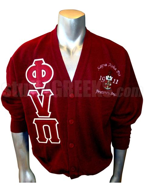 Cs R Sweater phi nu pi letter cardigan with embellished crest