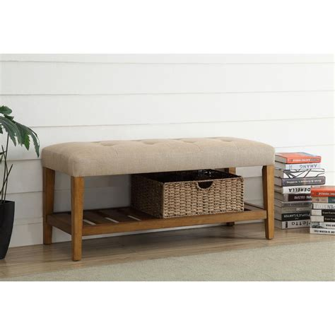 southern enterprises longview country oak storage bench