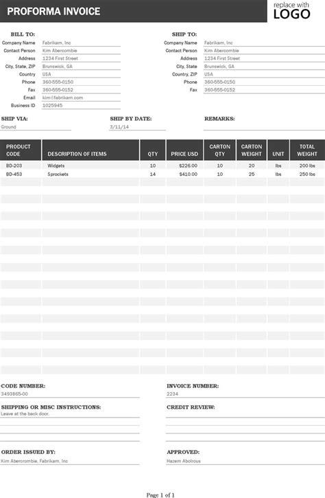 pro forma invoice template download free premium