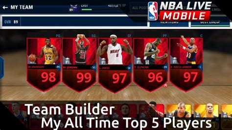 free nba live mobile all time top 5 team builder nba live mobile