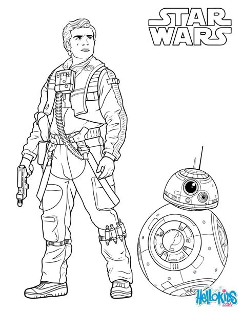 star wars bb 8 coloring pages poe dameron and bb 8 coloring pages hellokids com